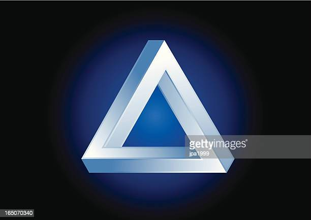 3D triangular illusion on a blue circle
