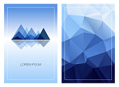 Triangular mountain ridges with vertical polygonal background. Set of geometric style cards template. Front and back page.