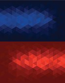 Triangular red and blue backgrounds.