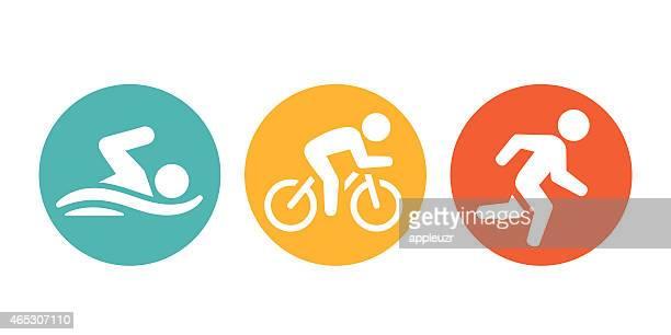 ilustraciones, imágenes clip art, dibujos animados e iconos de stock de triathletes iconos - natación