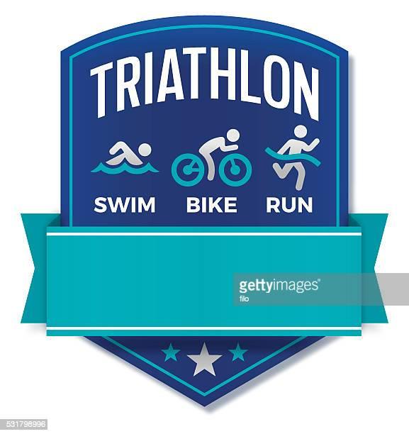 triathlon badge - sports team stock illustrations