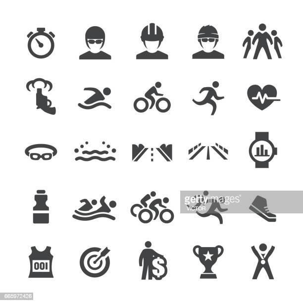 triathlon icons - smart series - competitive sport stock illustrations, clip art, cartoons, & icons