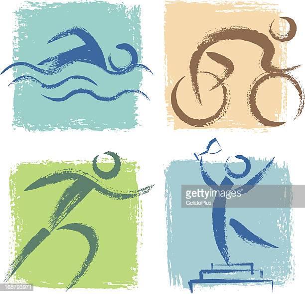 ilustrações, clipart, desenhos animados e ícones de ícones de triatlo - individual event
