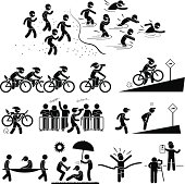 Triathlon Marathon Swimming Cycling Sports Running Pictogram