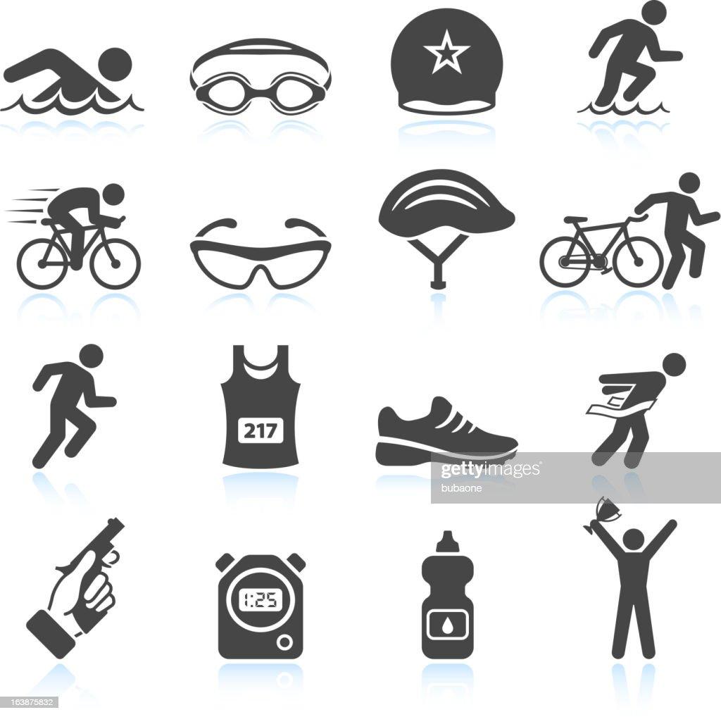 Triatlón acontecimiento deportivo vector conjunto de iconos de hombre de hierro : Ilustración de stock