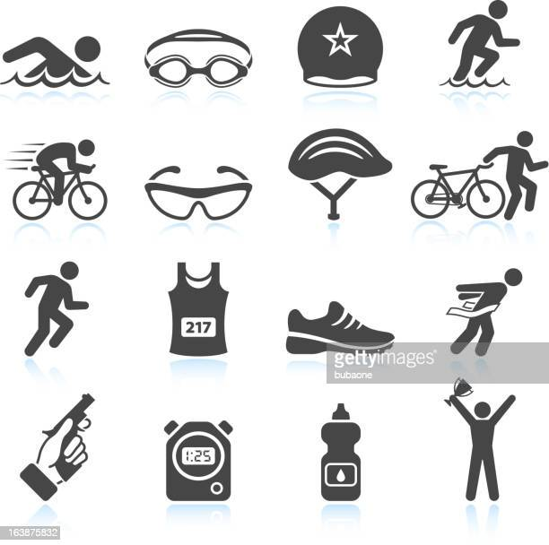 triathlon sport event iron man vector icon set - track and field stock illustrations, clip art, cartoons, & icons