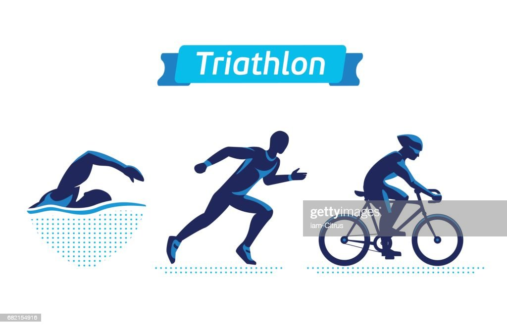 Triathlon symbols or badges set. Vector figures triathletes