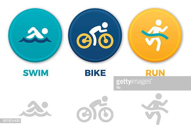 triathlon symbols - sports team stock illustrations