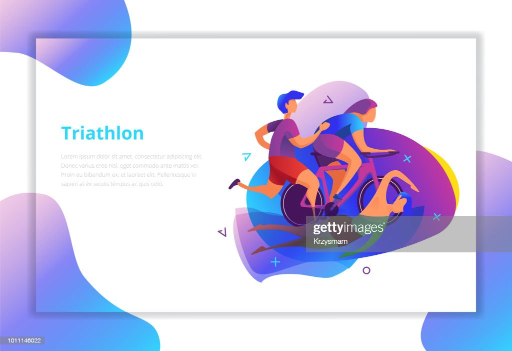 Triathlon vector illustration. Sport and activity landing page.