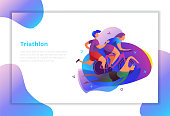 Triathlon vector illustration. Sport and activity landing page.