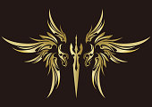 Tribal angel and feathers.Tribal design.