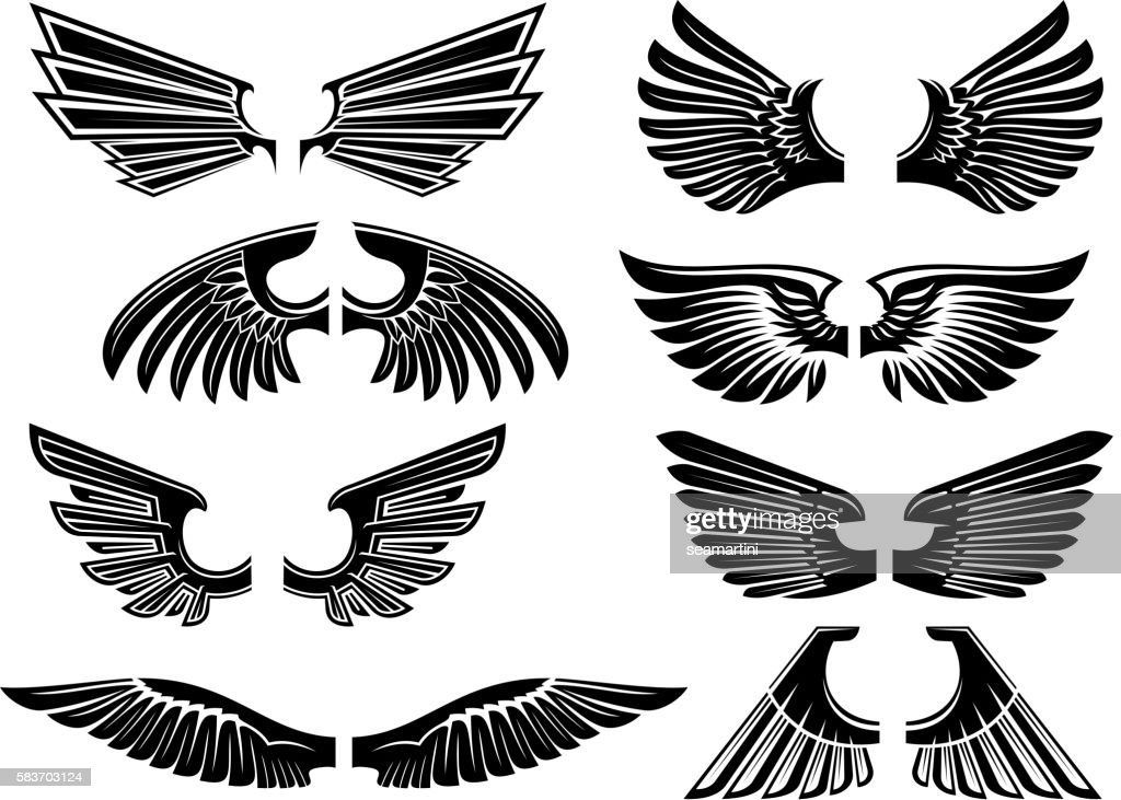 Tribal angel wings for heraldry or tattoo design