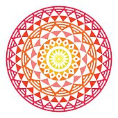 Tribal Aztec geometric pattern or print in circle - ombre