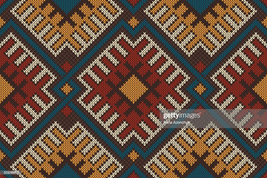 Tribal Aztec Seamless Pattern On The Wool Knitted Texture Vector Art