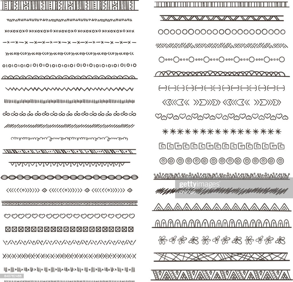 Tribal borders illustrations in boho style. Vector collection isolate. Hand drawn pictures