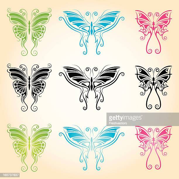 tribal butterfly tattoos - love bite stock illustrations
