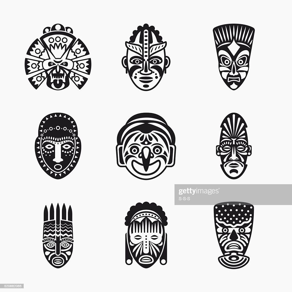 Tribal, ethnic mask icons