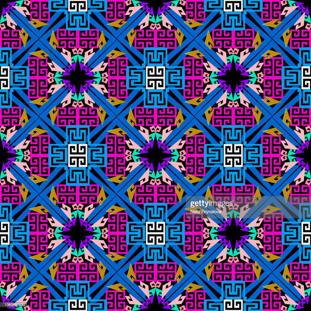 Tribal ethnic style geometric greek vector seamless pattern. Colorful ornamental abstract background. Repeat multicolor geometrical backdrop. Tribe decorative meanders  ornament. Ornate trendy design