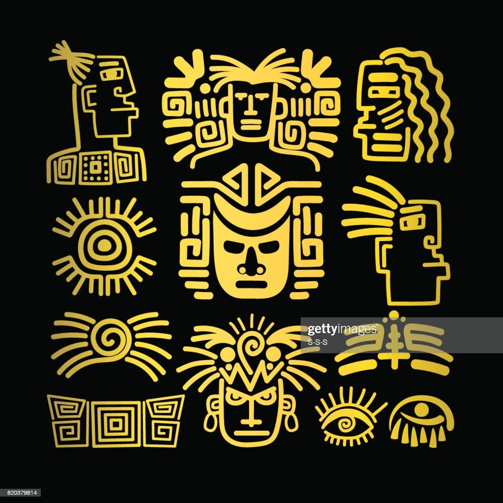 Tribal face drawings set, golden symbols