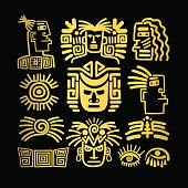 Tribal face drawings set, golden symbols