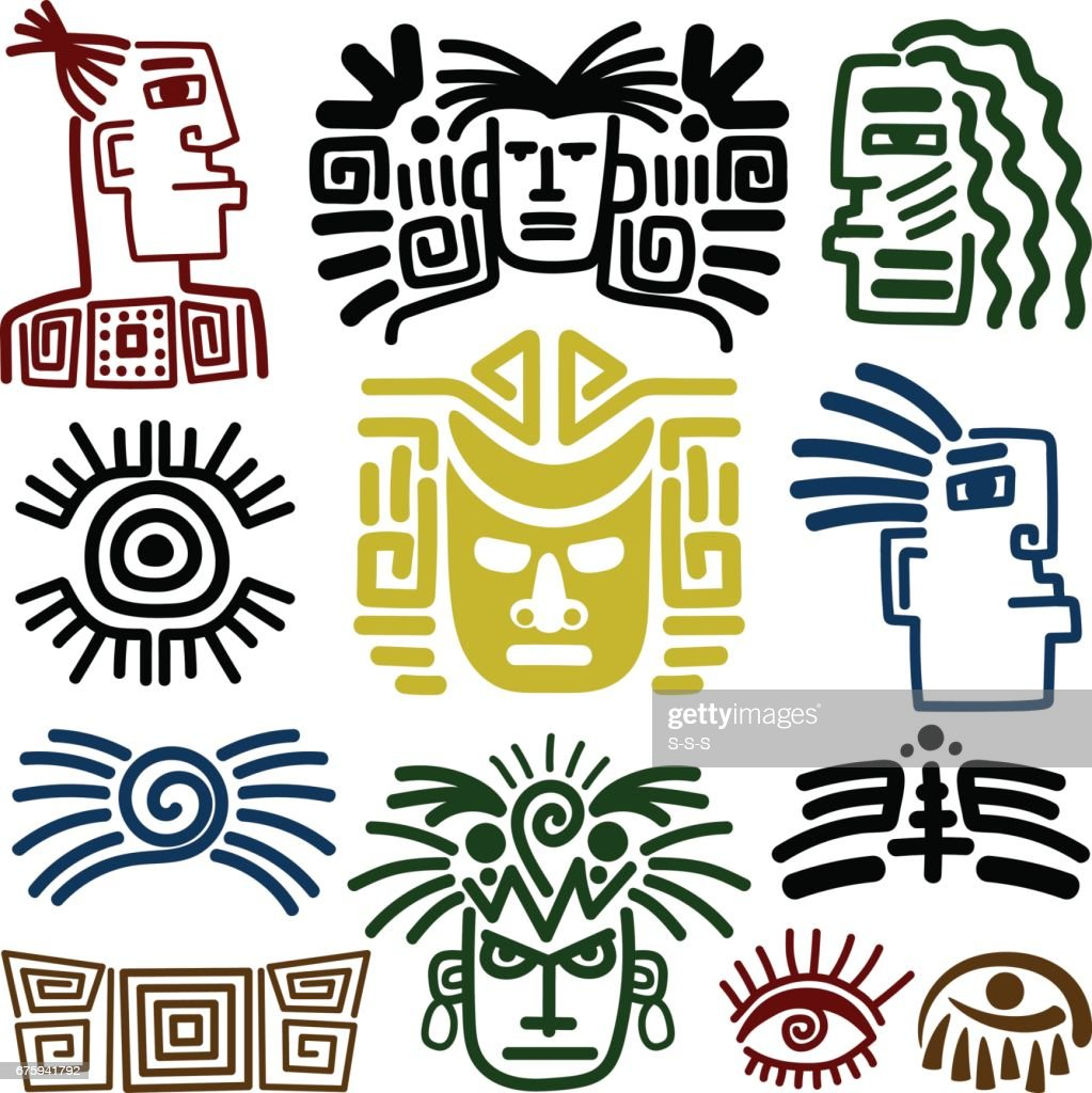 Tribal face drawings set