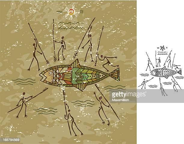 tribal fish hunt - cave painting stock illustrations