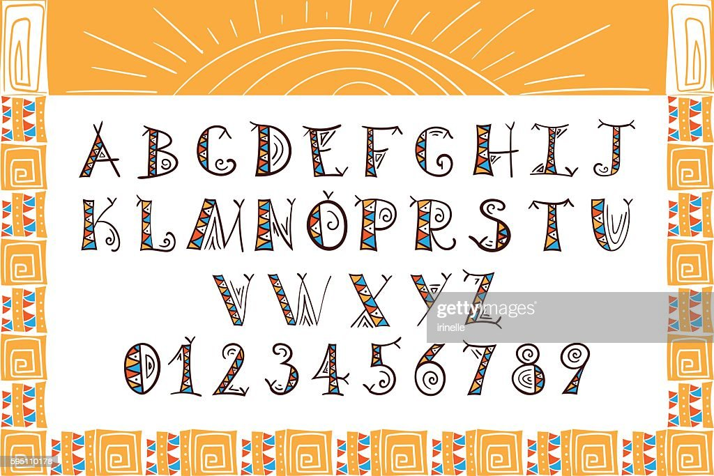 Tribal font vector. African, Mexican or Aztec style letters.