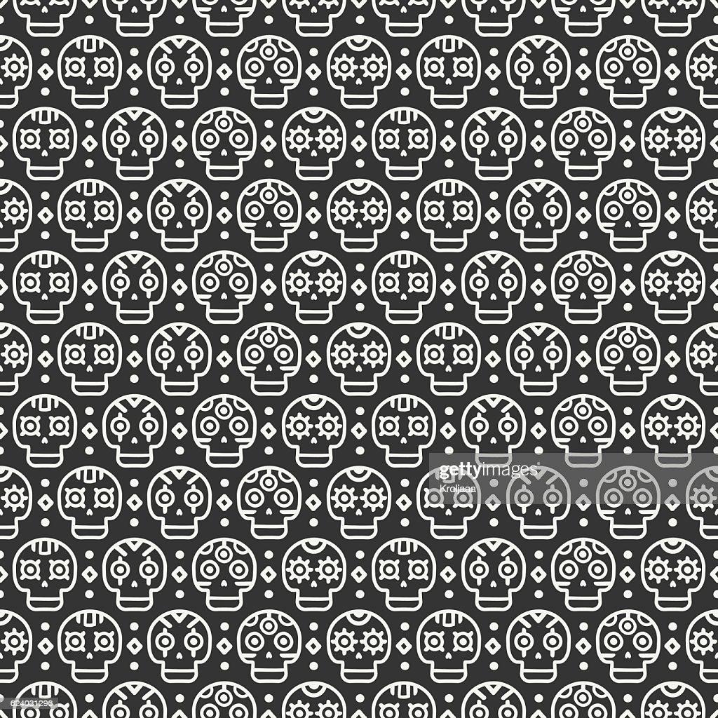 Tribal hand drawn line mexican ethnic seamless pattern. Border.Boho skull