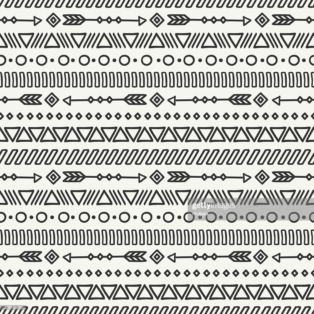 Tribal hand drawn mexican ethnic seamless pattern. Border. Aztec background.