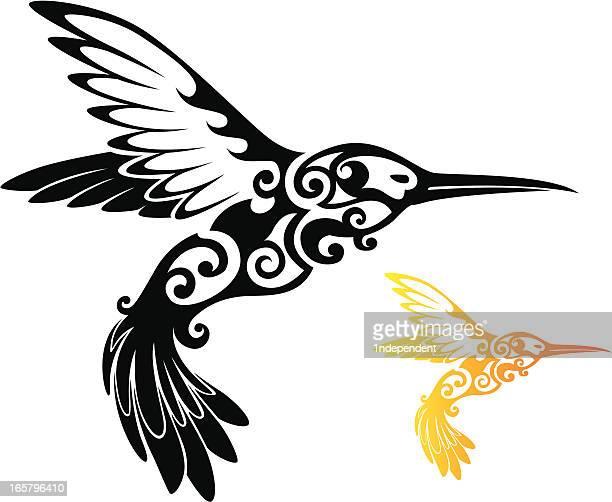 tribal hummingbird - hawaiian ethnicity stock illustrations, clip art, cartoons, & icons
