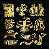 Tribal indian golden symbols