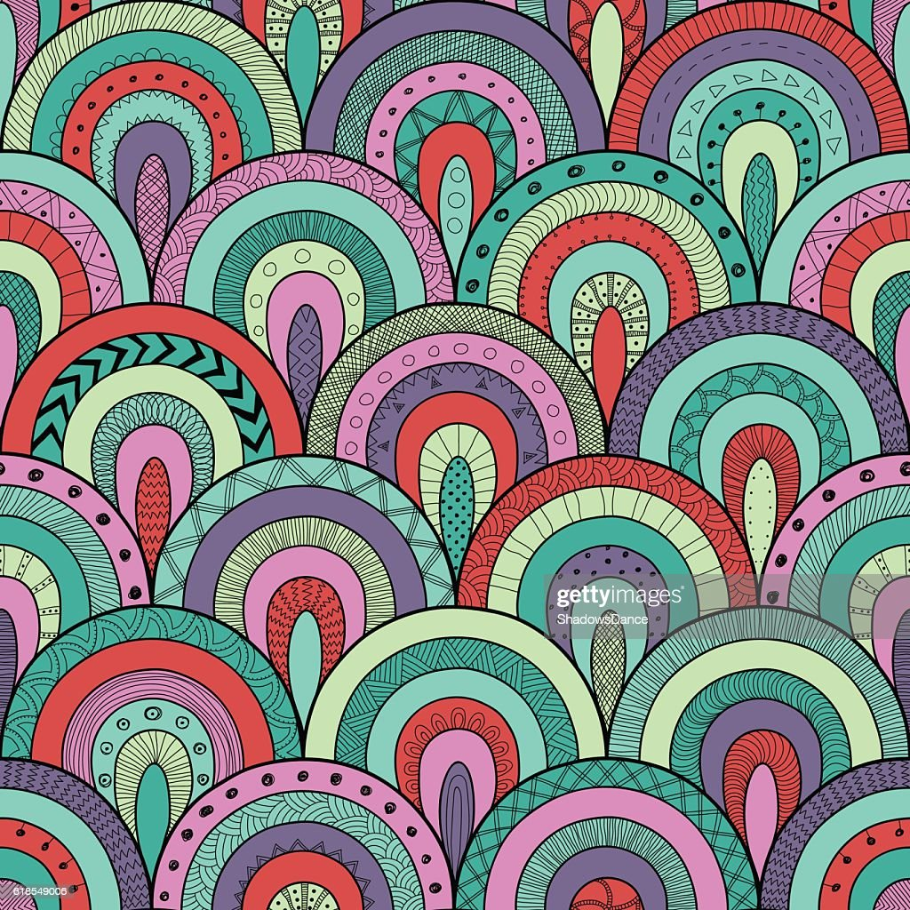 Tribal loop seamless pattern, ethnic patchwork style. Round tiles