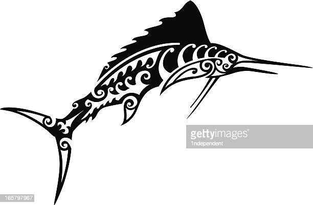 tribal marlin - hawaiian ethnicity stock illustrations, clip art, cartoons, & icons