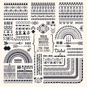 Tribal ornaments, ethnic pattern brushes, folkart illustrations clipart collection. Hand drawn elements for flyer, poster, banner, invitation design templates.