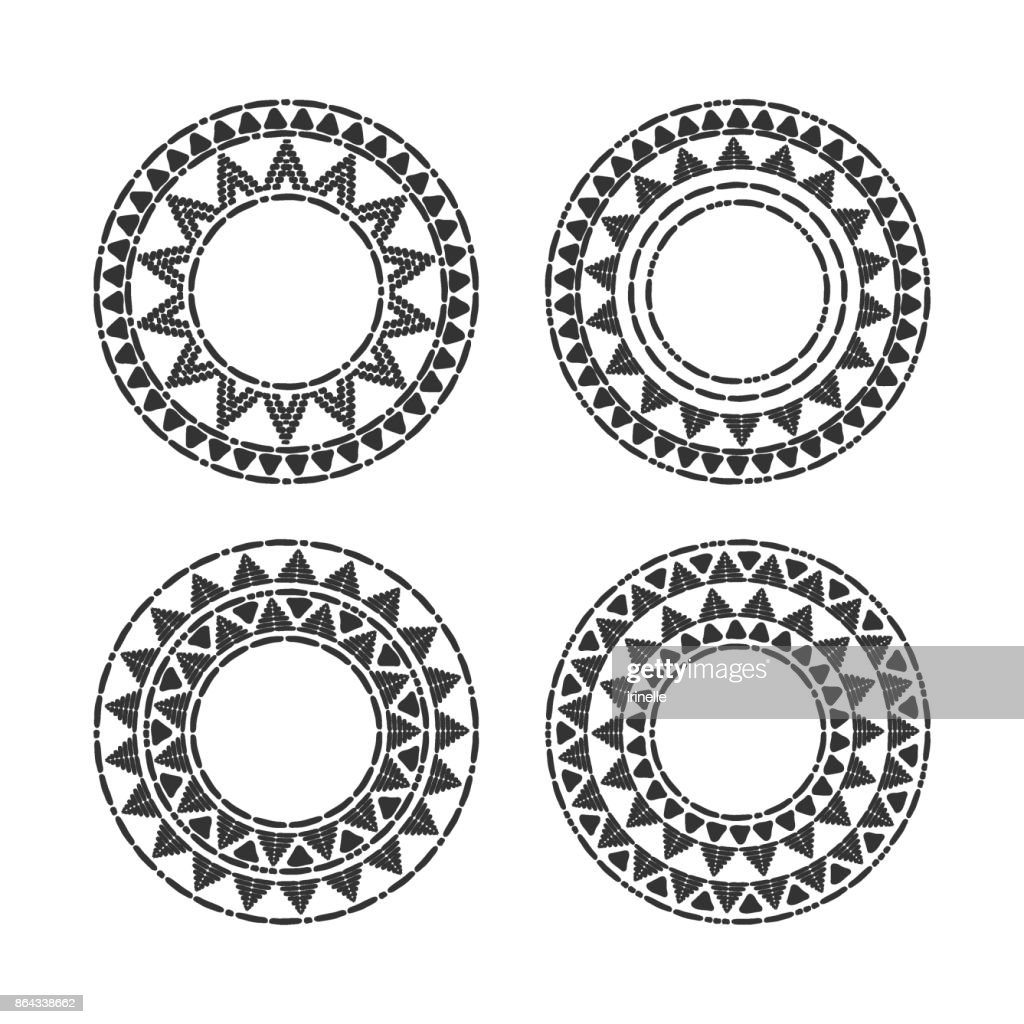 Tribal round frames set vector