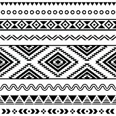 Tribal seamless Aztec white pattern on black background