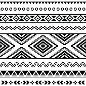 Tribal seamless Aztec white pattern on black background
