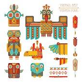 Tribal set. Set of stylized indian totem pole elements.