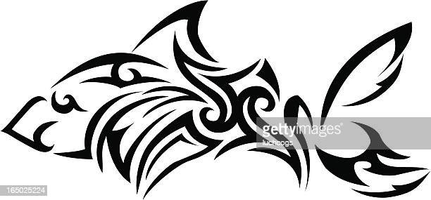 tribal shark - tail fin stock illustrations, clip art, cartoons, & icons