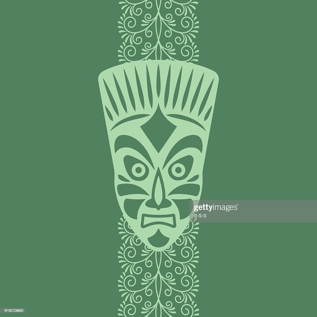 Tribal style card with mask : Vector Art