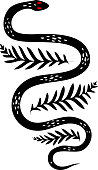 Tribal Tattoo Designs Snake and Leaf