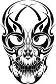Tribal tattoo skull design