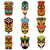 Tribal tiki mask vector set of colorful cut wooden guise. Flat icons isolated on white background.