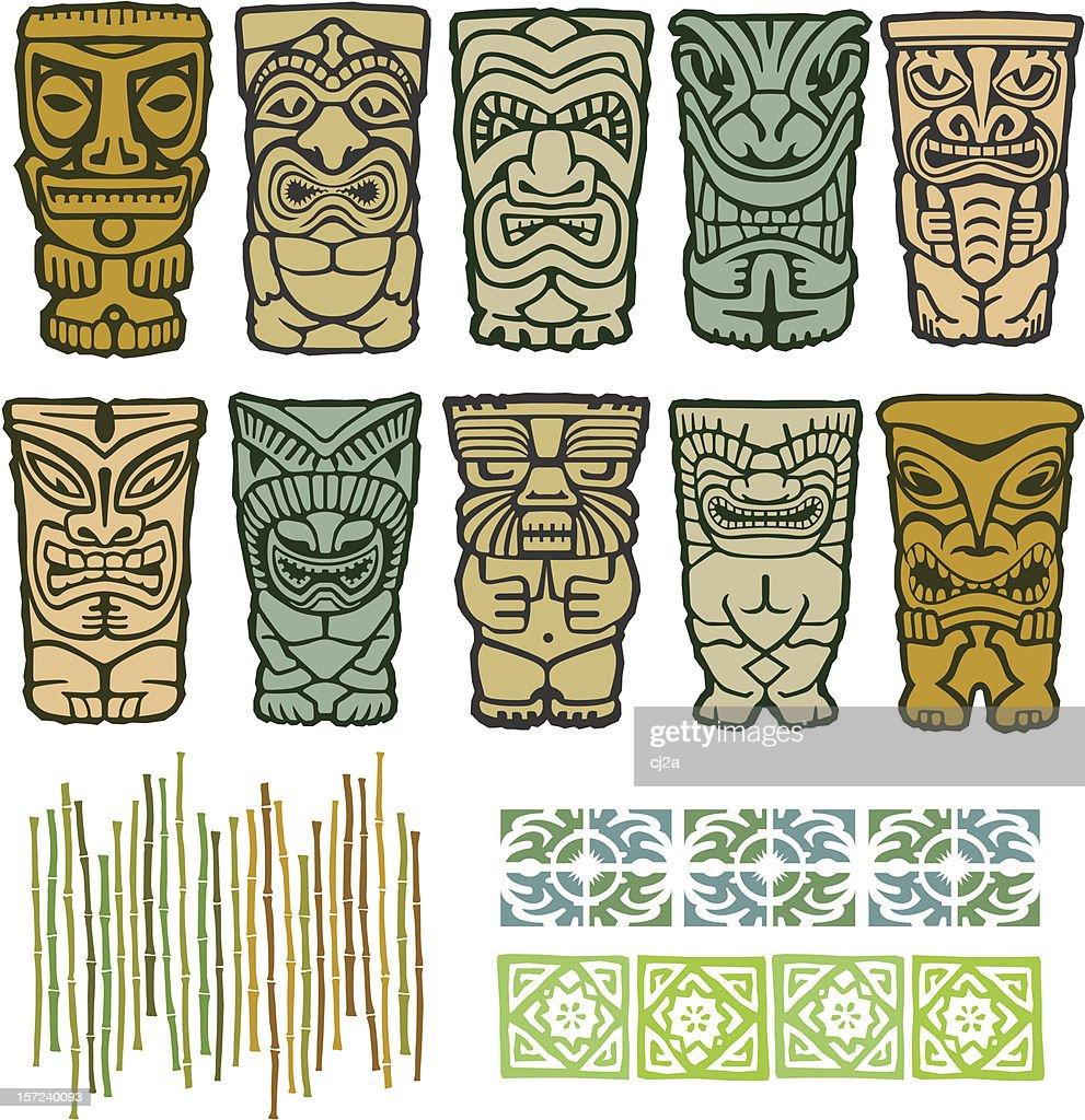 Tribal Tiki Vector Totem Illustrations
