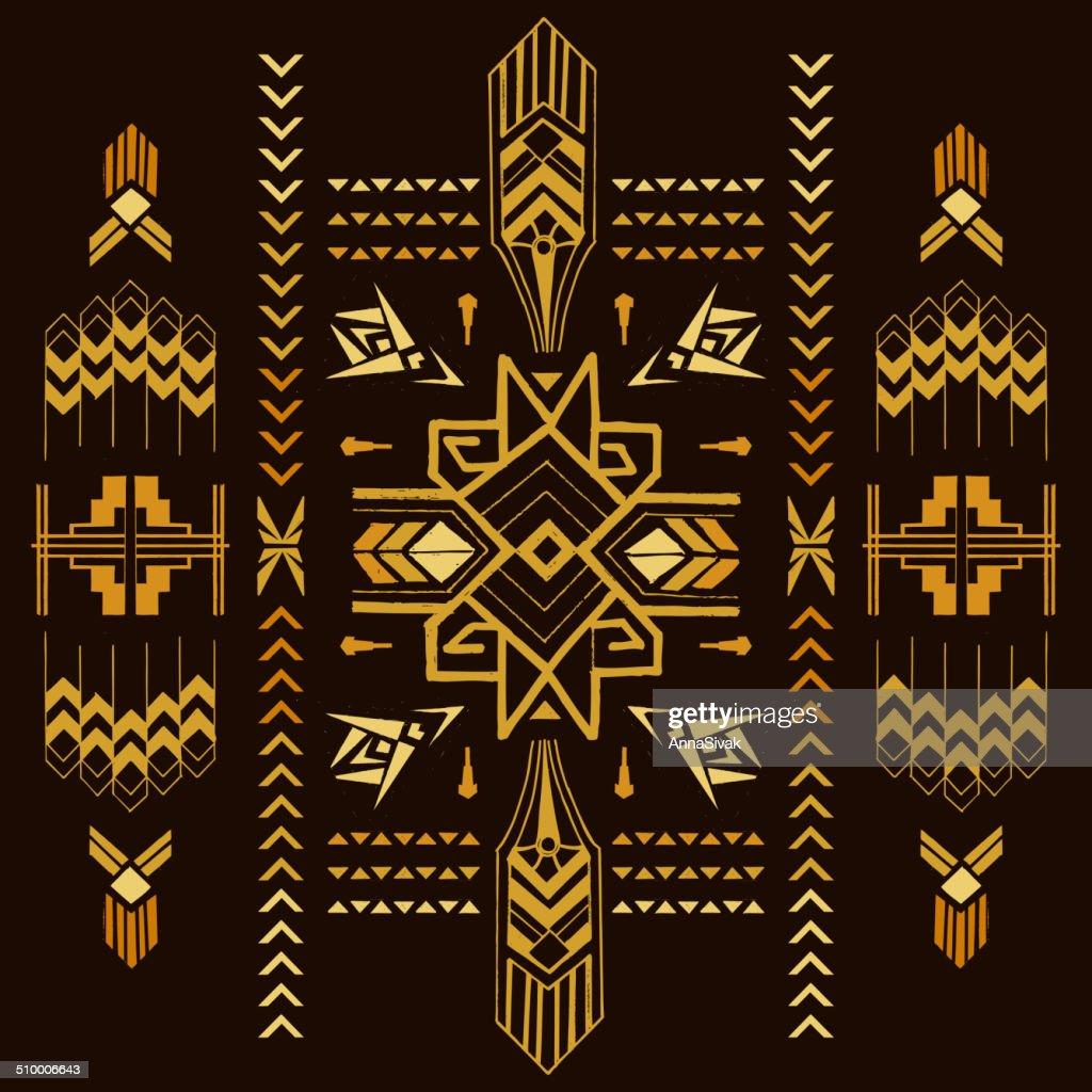 Tribal Vintage Aztec Background - hand drawn