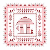 Tribal Warli Painting frame of a village house