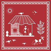 Tribal Warli Painting illustation of a village house