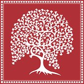 Tribal Warli Painting illustration of a tree