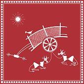 Tribal Warli painting of daily activities - bullock cart