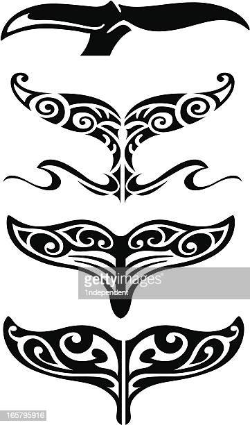 tribal whale tail - whales stock illustrations, clip art, cartoons, & icons